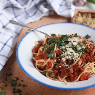 Vegánske spaghetti bolognese