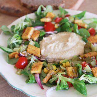 10 minútový hummus tanier s dúhovým šalátom