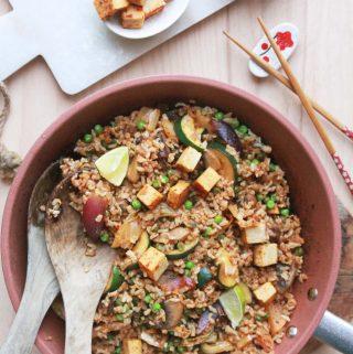 Kimchi ryža s restovanou zeleninou